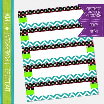 Name Labels / Desk Plates - Turquoise Chevron and Polkadots {EDITABLE}