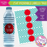 Water Bottle Lables - Turquoise Chevron and Red - Dr. Seuss Theme {EDITABLE}