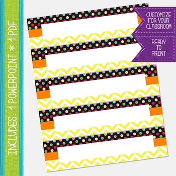 Name Labels / Desk Plates - Yellow Chevron and Polkadots {EDITABLE}