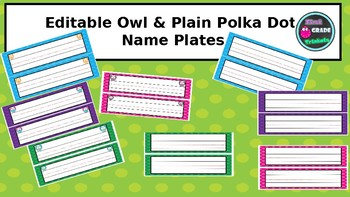 Owl and Polka Dot Name Plates