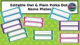 Owl and Polka Dot Name Plates