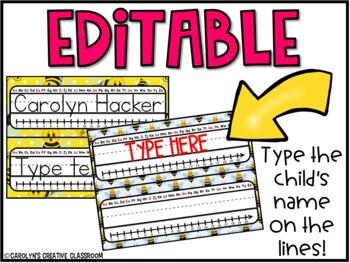 Editable Name Plates - Bee Theme Name Plates
