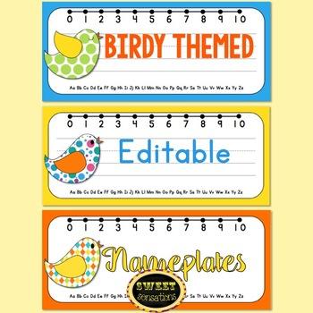 Editable Name Plates (Bird Theme)