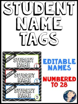 Editable Name Plates - Black and White Chevon Pre-numbered