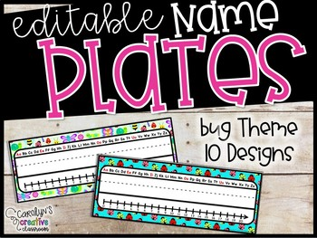 Editable Name Plates - Bug Theme Name Plates