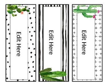 Editable Name Plates - Cactus - Succulent - Classroom Decor