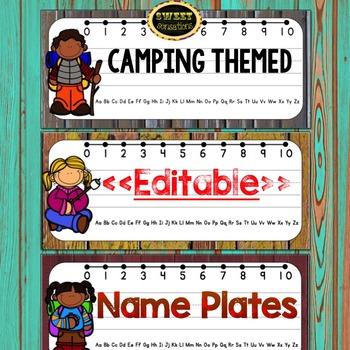 Editable Name Plates (Camping Theme)