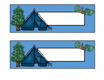 Editable Name Plates - Camping and Outdoor Theme - 11 Styles!