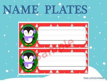 Editable Name Plates : Cute Penguins