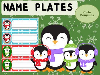 Editable Name Plates : Cute Penguins