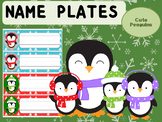 Editable Name Tags and Desk Plates : Cute Penguins