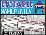 Editable Name Plates - Dog and Paw Prints Theme Name Plates