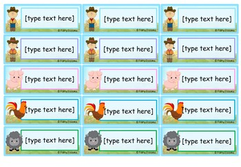 Editable Name Plates and Labels (Farm Theme)