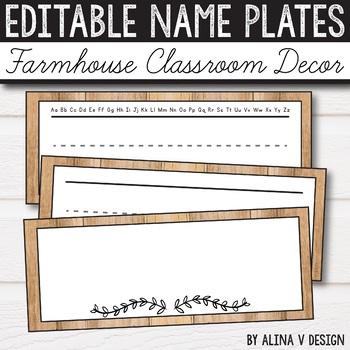 Free Editable Name Plates Farmhouse Classroom Decor Rustic Classroom