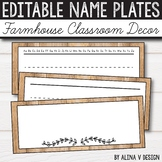FREE Editable Name Plates-  Farmhouse Classroom Decor - Ru