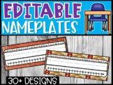 Editable Name Plates - Farmhouse, On the Farm, Pigs, and Wood Theme Nameplates