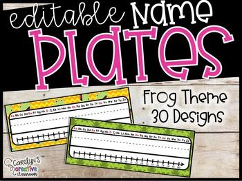 Editable Name Plates - Frog Theme Name Plates