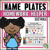 Editable Desk Name Plates and Homework Helper for Kindergarten