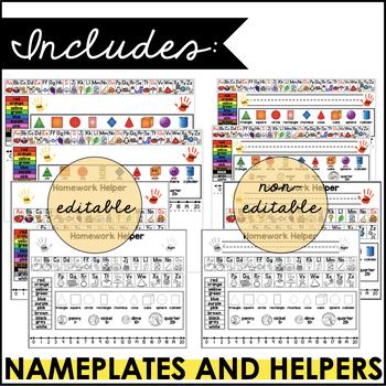Editable Name Plates/Desk Helpers and Homework Helper for Grades K-1