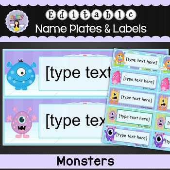 Editable Name Plates and Labels - Monster Theme