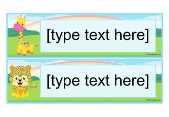 Editable Name Plates and Labels - Jungle Animals and Pet Themes