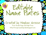 Editable Name Plates- Lime and Turquoise