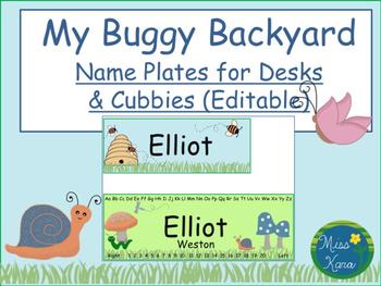 Desk and Cubby Tags:  My Buggy Backyard (Editable)