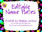 Editable Name Plates- Neon Brights