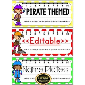 Editable Name Plates (Pirate Theme)
