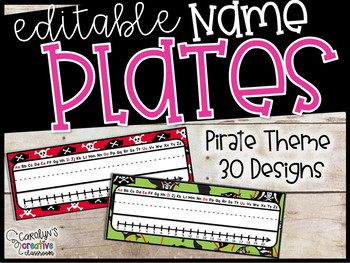 Editable Name Plates - Pirate Theme Name Plates