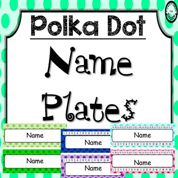 Editable Name Plates ~ Polka Dot