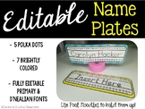 Editable Name Plates - Polka Dot Name Tags & Simple Bright Colored Names