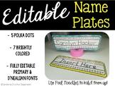 Editable Name Plates - Polka Dot Name Tags & Simple Bright Colored Names