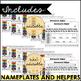 Editable Name Plates and Matching Homework Helper for PreK - K