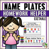 Editable Desk Name Plates and Matching Homework Helper for