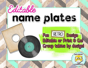 Editable Name Plates - Retro Theme