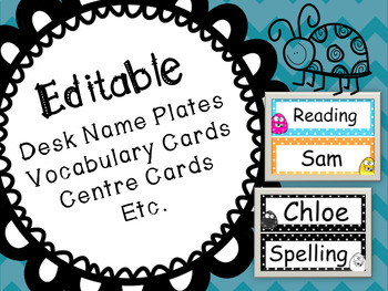Editable Name Plates, Task Cards, Word Wall, Spelling Cards, Flash Cards, Etc.