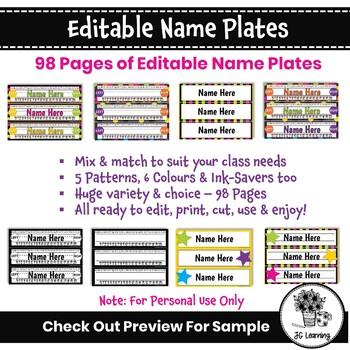 Editable Name Plates Templates Neon Bright | Name Tags Signs | Classroom Decor