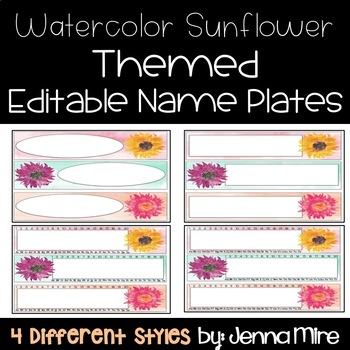 Editable Name Plates- Watercolor Sunflower