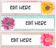 Editable Name Plates- Watercolor Sunflower