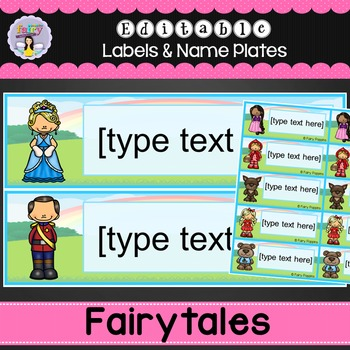 Editable Name Plates and Labels -Fairytale Theme