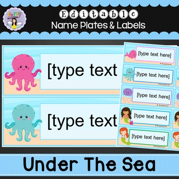 Editable Name Plates and Labels - Ocean, Pirate & Mermaid Theme