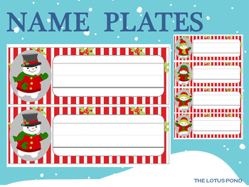 Editable Name Plates and Labels : Cute Snowmen
