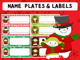 Editable Labels and Name Tags : Cute Snowmen