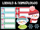 Editable Labels and Name Tags: Cute Snowmen, Christmas, Winter, Snowman