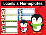 Editable Labels and Name Tags : Cute Winter Penguins, Christmas