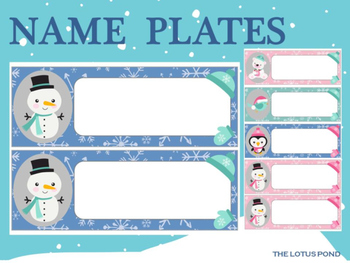 Editable Name Plates and Labels : Frosty Babes - penguin, polar bear, snowman