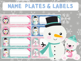 Editable Labels and Name Tags : Frosty Babes - penguin, polar bear, snowman