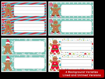 Editable Name Plates and Labels : Gingerbread Men, Christmas, Winter