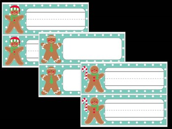 Editable Labels and Name Tags : Gingerbread Men, Christmas, Winter